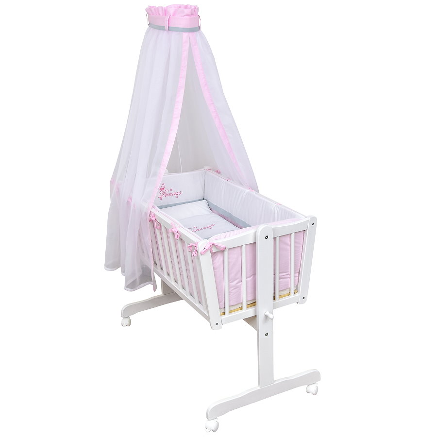 wiege schaukelwiege babywiege holz wei bettset princess prinzessin komplett ebay. Black Bedroom Furniture Sets. Home Design Ideas