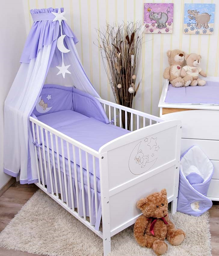 Babybett-Kinderbett-Juniorbett-Weiss-Mond-Bettset-NEU