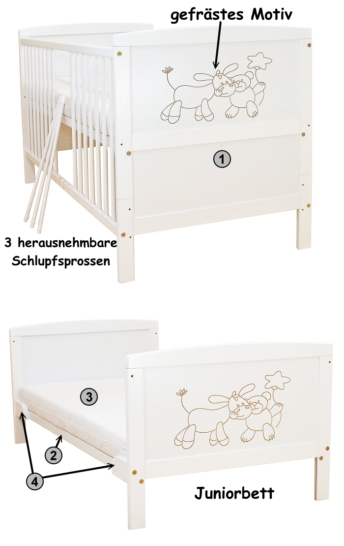 babybett kinderbett juniorbett wei esel b r bettset. Black Bedroom Furniture Sets. Home Design Ideas