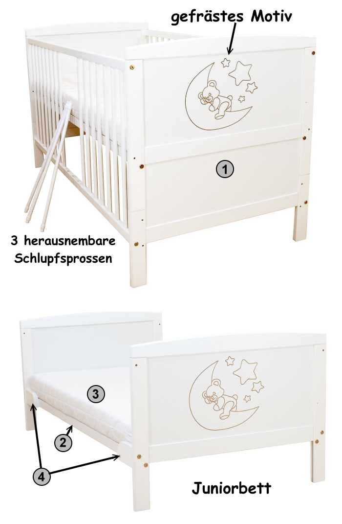 babybett kinderbett wei mond kokosmatratze bettset ebay. Black Bedroom Furniture Sets. Home Design Ideas